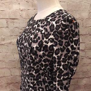 Michael Kors Dresses - Michael Kors Gray Snow Leopard Zipper Shift Dress
